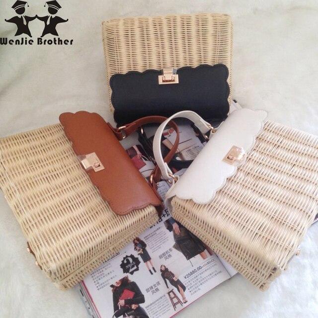 wenjie brother new arrival good quality fashion straw bag hand-woven rattan women handbag casual lady shoulder beach bag