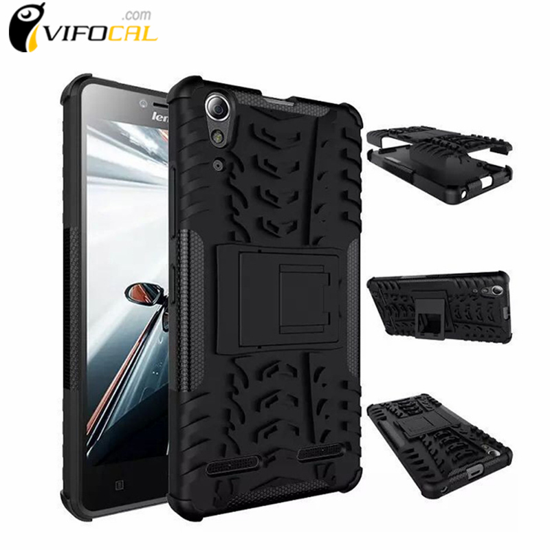 For Lenovo A6010 Case TPU & PC Dual Armor Cover with Kickstand Hard Silicone Back Cover Anti-Skid Case For Lenovo A6000 Plus