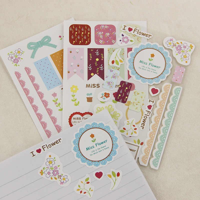 3 יח'\סט קוריאה Creative תחרה נייר מדבקת לוח שנה יומן ספר מדבקת Scrapbook קישוט משרד מכתבים מתנה