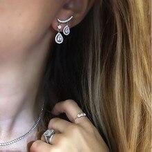 bridal wedding engagment luxury fashion jewelry tear drop dangle CZ cubic zirconia jewelry Modern summer bling women earring