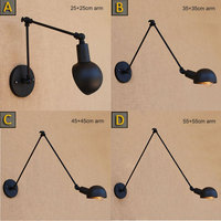 Vintage Loft Industrial Adjustable Sconce Wall Lights For Bedroom Long Swing Arm Flexible Wall Lamp Black