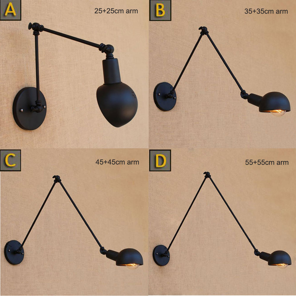 Vintage Loft Industrial Adjustable Sconce Wall Lights for Bedroom Long Swing Arm Flexible Wall Lamp Black Lighting Fixtures E27 free shipping vintage wall lamps garden lighting terrace wall sconce outdoor wall lights mediterranean bedroom wall lamp