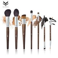 HUAMIANLI Goat Hair Makeup Brush Eyeshadow Brushes Set Powder Blush Wood Handle Brown Color High Quality