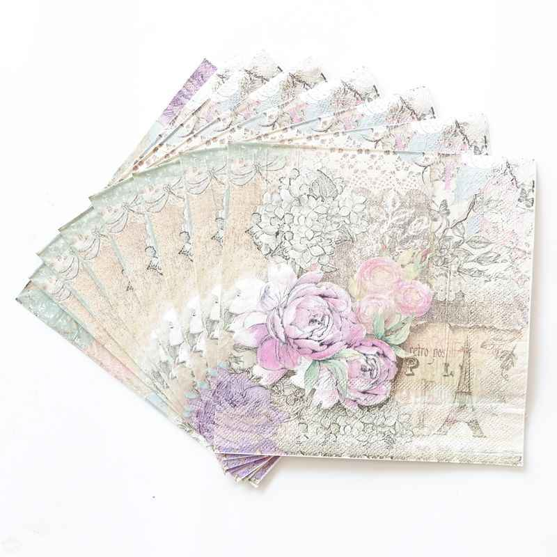 Printed Feature Tower Rose Paper Napkins For birthday Event & Party Decoration Tissue Decoupage Servilleta 33cm*33cm 20pcs/lot