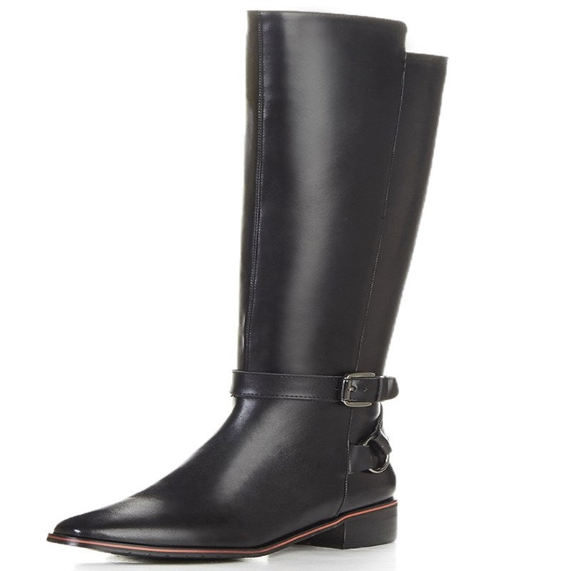 ФОТО winter Ladies shoes woman Fashion Boots heel height 2.5cm Fashion Boots Square heel Square Toe woman party shoes