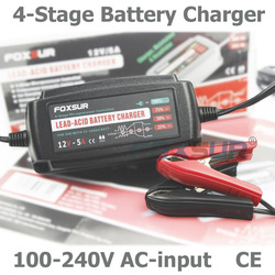 FOXSUR 12V 5A Automatic Smart Battery Charger, Maintainer & Desulfator for Lead Acid Batteries, Car Battery Charger 100-240V In