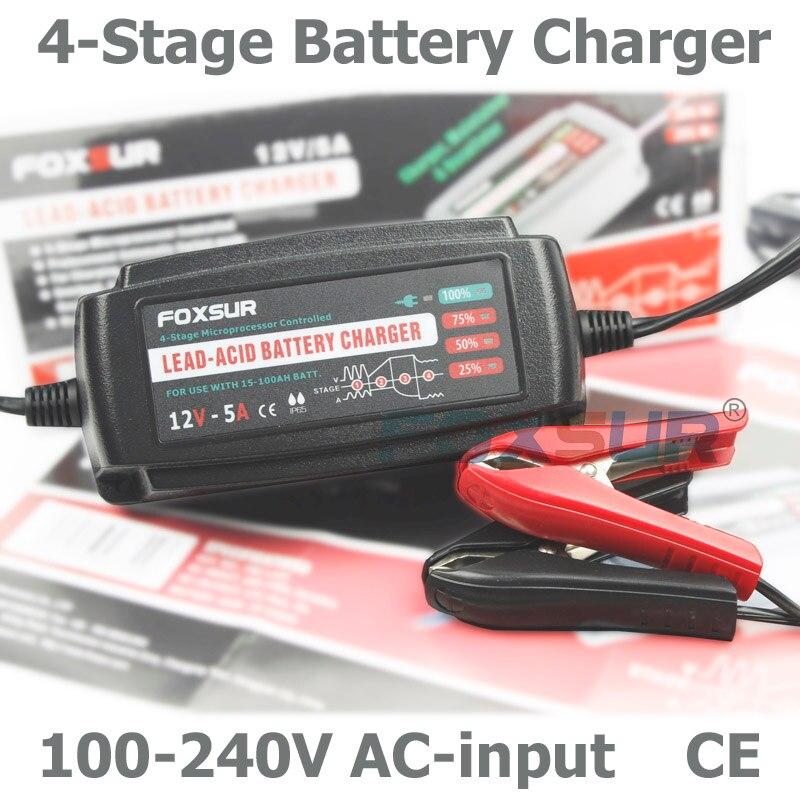 FOXSUR 12 V 5A Automatique Intelligent Chargeur de Batterie, responsable et Desulfator pour Batteries Au Plomb-Acide, Batterie de voiture Chargeur 100-240 V En