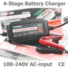 FOXSUR 12 V 5A Cargador de Batería Automático Inteligente, mantenedor y Desulfator Baterías de Ácido de Plomo, Cargador de Batería de coche 100-240 V En