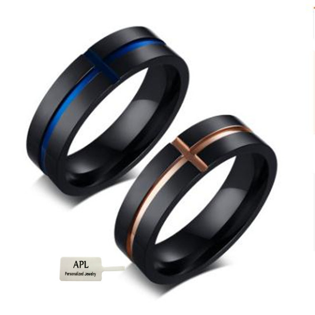 APL-2018 New Men's Multicolored Ring New Titanium Steel Jewelry Wedding Ring Classic Grooved Cross Ring