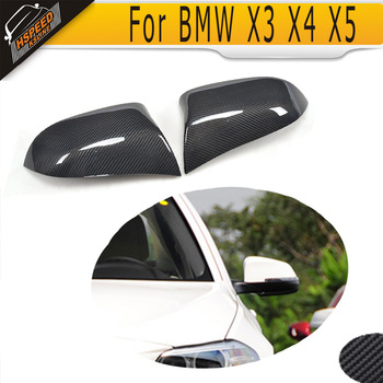 Carbon fiber side rear back view mirror covers Caps for BMW X3 F25 X4 F26 X5 F15 2014 - 2016 X6 F16 2015 2016 Standard Non M