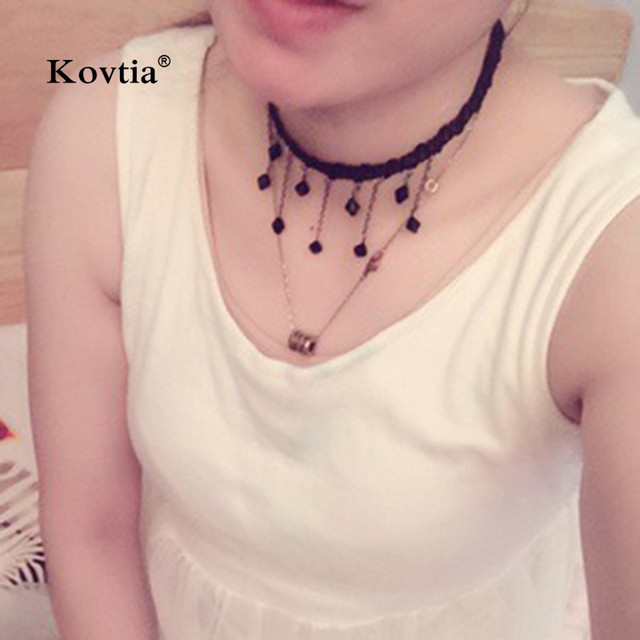 2017 Tassel Clavicle Choker Necklace for Women Vintage Jewelry Handmade Crystal Black Lace Necklaces Female Charm 4317