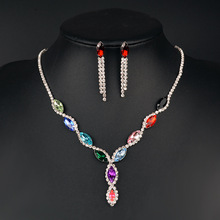 Luxury Crystal womens wedding jewelry set silver color fine necklace earrings accessory Mothers Day Gift