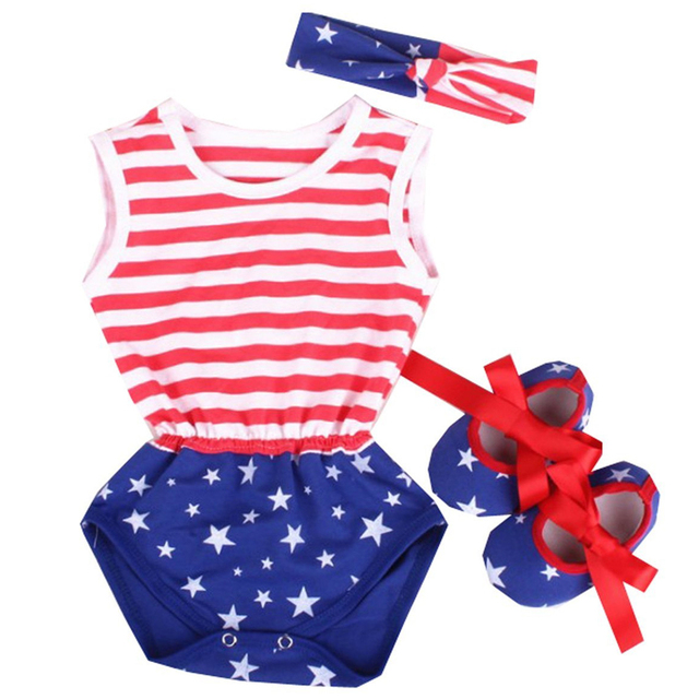 488d9f657f39 Baby Girl 4th of July Clothing Toddler Kid Baby Girl Romper Jumsuit Clothes  Newborn Striped Red and Blue Star 4th July Outfits