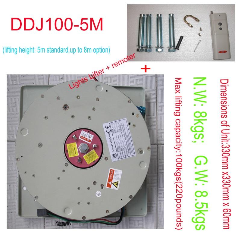 DDJ100KG 5M Chandelier Hoist Light Lifting System Lamp Winch Lighting Lifter Chandelier Lift 110V 120V 220V