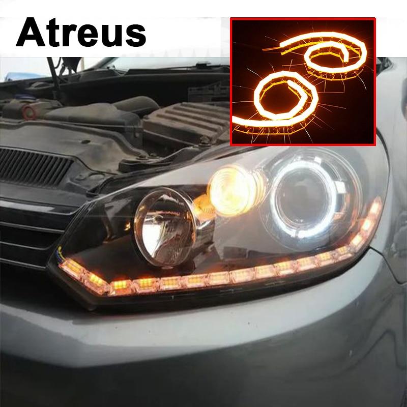 Atreus 2pc Car Crystal Water Lamp Eye LED DRL Light For Mercedes benz W211 W203 W204 W210 W205 AMG Mini cooper Skoda octavia a5 ручка видеокамера pc 210 2