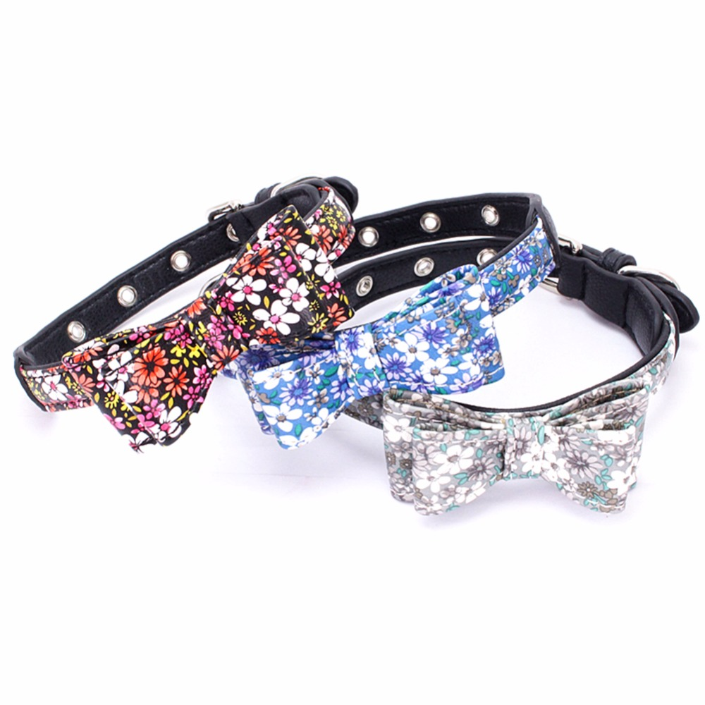 Small Dogs Collars Retractable Puppy Animals Bowknot