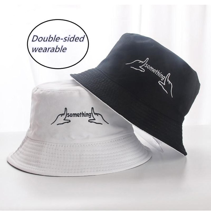 Double Sided Wear Finger Something Embroidery  Panama Bucket Hat Men Women Summer Bucket Cap Hip Hop Hat Fisherman Hat F011