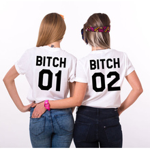 Bitch 01 Bitch 02 funny girls tumblr T shirt bff sister fashion tops maglie  tee best 7a3da421f0d7