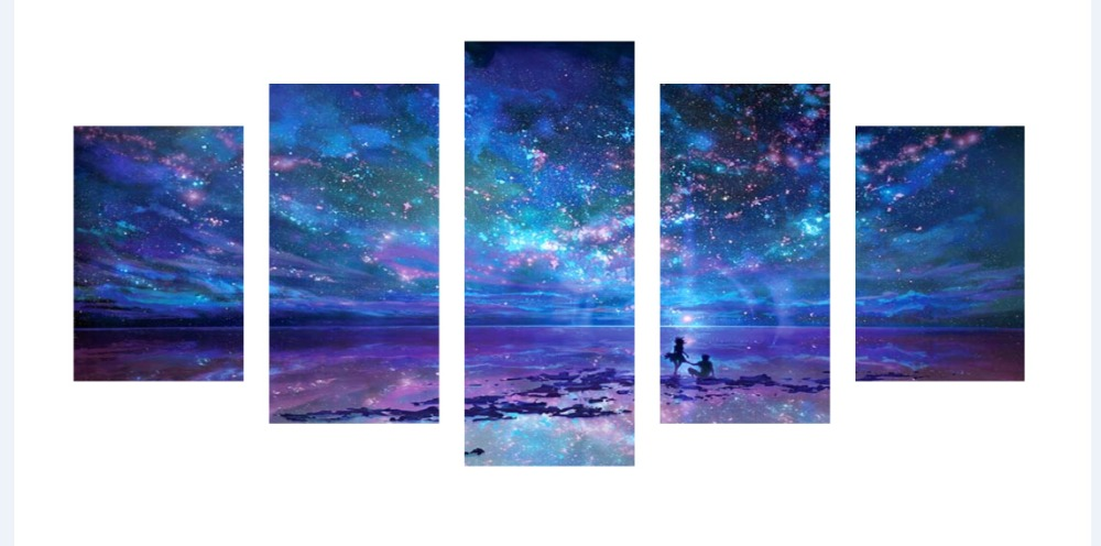 Full-Diamond 5p Picture Diamond Anime Fantasy Star Sea Star Modern Embroidery Cross-stitch Rhinestone Mosaic Painting