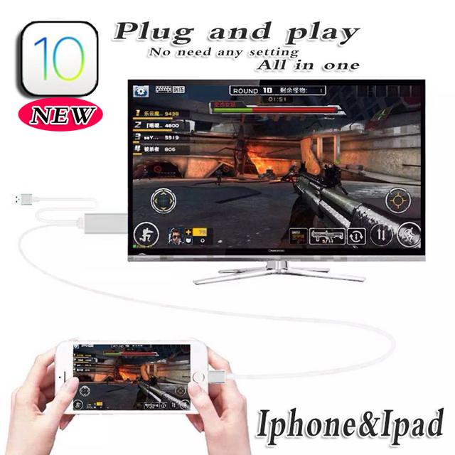 Av hdtv adaptador para iphone 7 plus 6 s 6 5S ios 10 hdmi mhl cabo apple ipad mini para caixa conversora da tv plug & play monte pacote de varejo
