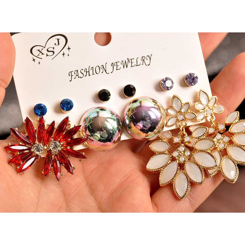 2019 New fashion women's jewelry wholesale girls  party red ear studs set beautiful mashup 6 pairs /set earrings Free shipping