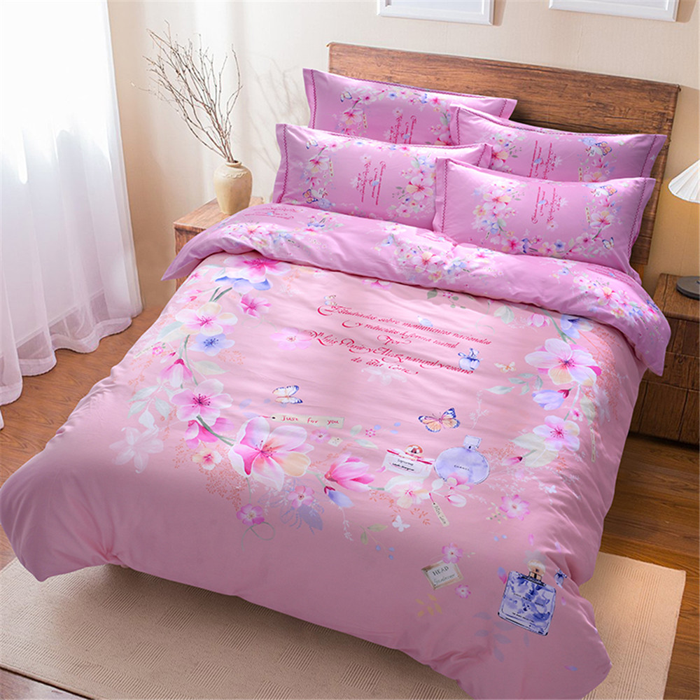 Hot pink flower bedding - 100 Cotton Rustic Flower Jacquard Pink Bedding Duvet Cover Sets 4pc Adult Children Girls Home Textiles Decoration No Filler Hot