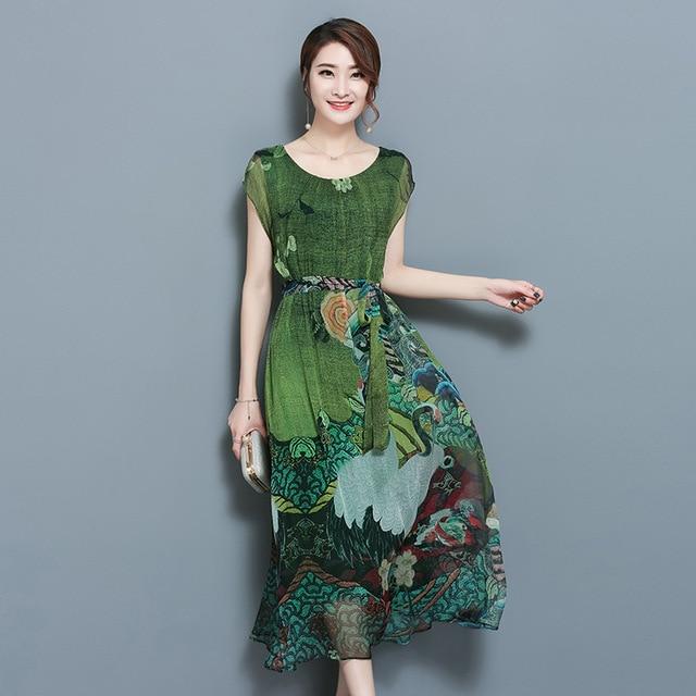 5add8bc25814 Primavera Estate Verde Vintage Stampa Floreale Vestiti Donna O-Collo Manica  Corta Vestito di Seta