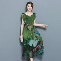 Spring Summer Green Vintage Floral Print Dresses Women O Neck Short Sleeve Silk Dress With Sashes