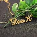 Plateado de oro Nombre Personalizado Caja de la Cadena Collares de Las Mujeres 925 de Plata Maciza Collar Nameplated Personalizada