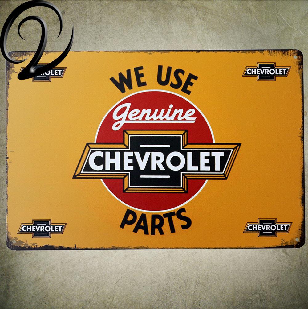 We Use Genuine Chevrolet Parts Bar Pub Garage Wall Decor Shabby Chic ...