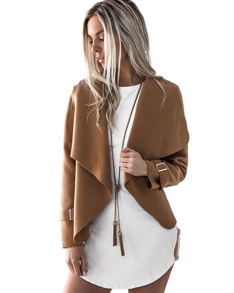 Hitmebox 2018 New Autumn Winter Women Large Lapel Collar Short Jacket Ladies Woolen Blend Open Fron Top Coat Outerwear 4 Colors