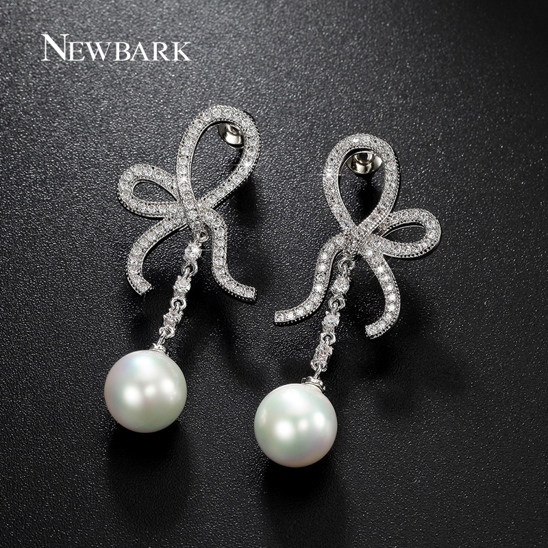 60c332efa355 Newbark elegante arco nudo Pendientes de gota estilo ol con blanco simulado  PERLA para las mujeres de lujo joyería de la boda regalo