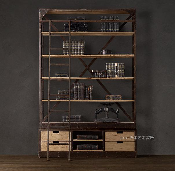 LOFT style French furniture industry to do the old wrought iron wood  bookcase shelf bookcase shelf