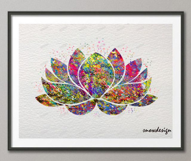 Lotus Flower Wall Art aliexpress : buy lotus flower yoga symbol watercolor wall art