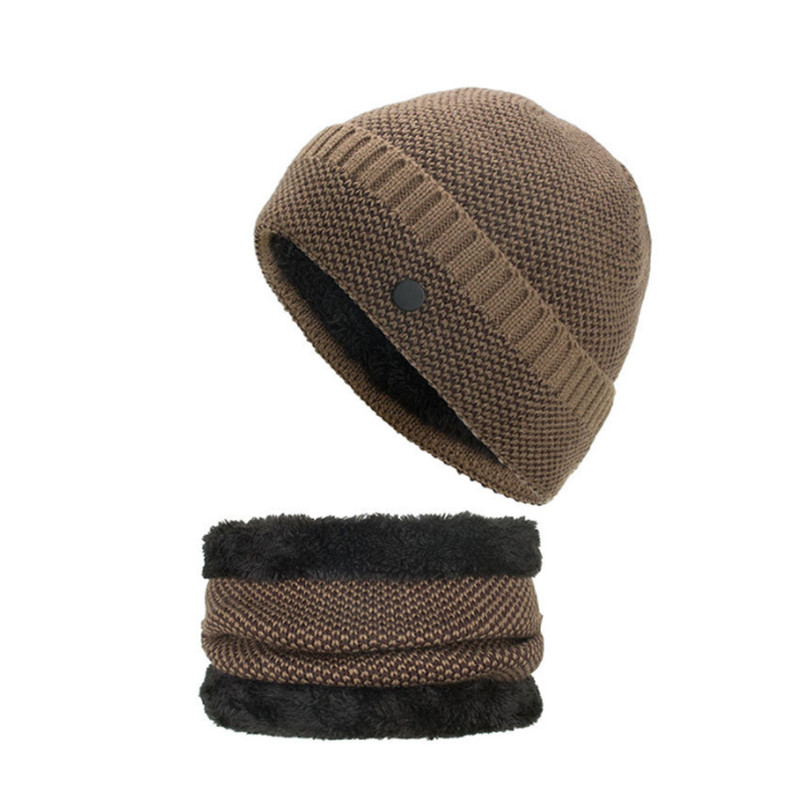 Winter Hat And Scarf Set For Women Button Skullies Beanies For Men Knitted Wool Hat Warm Gorros Plus Velvet Warm Winter Set