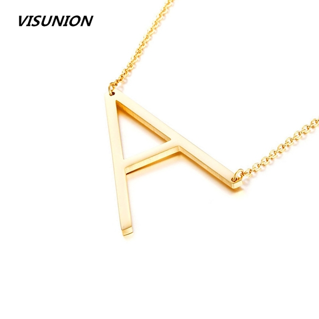 0b934ee3fafa Gold A-Z large Initial Letters Alphabet Personalized Charm Big Letter  Script Name Pendant Monogram Necklace for