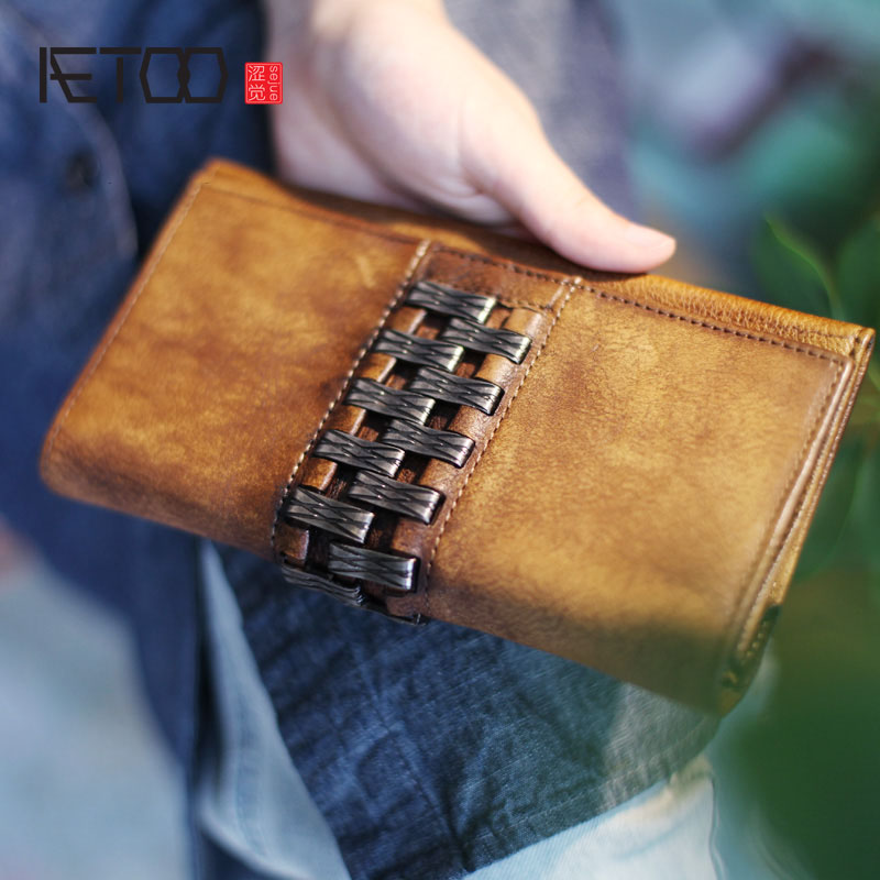 AETOO Retro National Style Personality Handmade Cowboy Arts Ladies Wallet Leather Flip Long Wallet Vintage wallet 1 design laser cut white elegant pattern west cowboy style vintage wedding invitations card kit blank paper printing invitation
