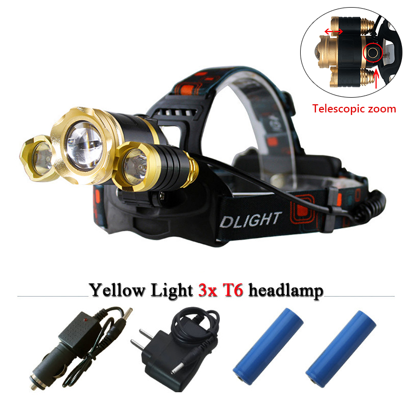 Zoomable Powerful headlamp 3T6 12000 Lumens CREE LED headlight Rechargeable LED Head lamp fishing light 18650 battery head torch