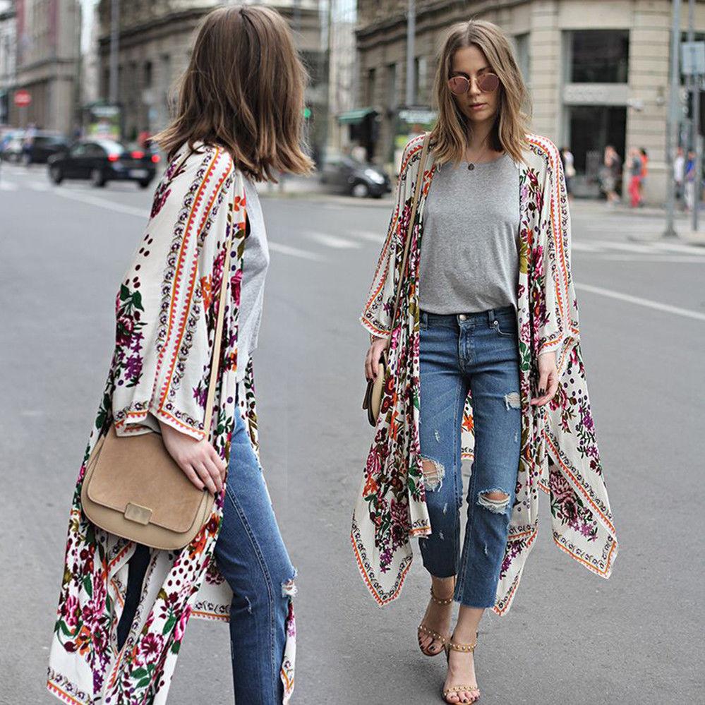 Women Boho Beach Pretty Floral Print Loose Shawl Kimono Cardigan