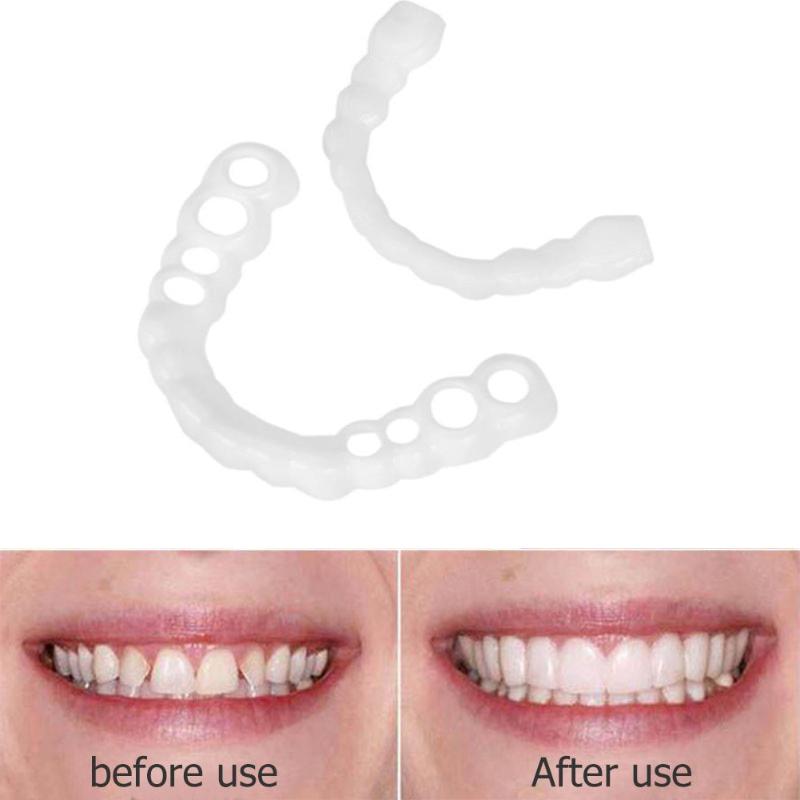 1pair Silicone Fake Teeth False Tooth Cover Whitening Denture Dental Oral  Care teeth whitening