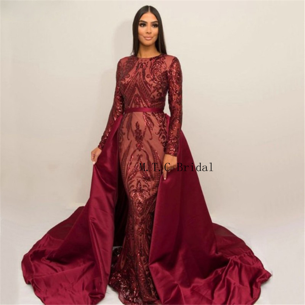 Us 1794 22 Offcharming Burgundy Mermaid Long Sleeve Prom Dresses Detachable Train 2019 High Quality Sequins Lace Long Formal Evening Gowns In Prom