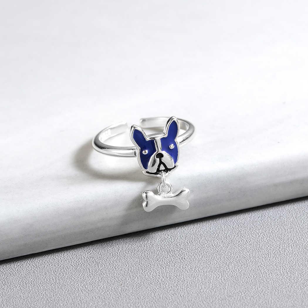 Модные серебряные кольца в виде животных, собак и костей, кольца для женщин, эмаль, французский бульдог и собака, кольцо на кости, регулируемые ювелирные изделия
