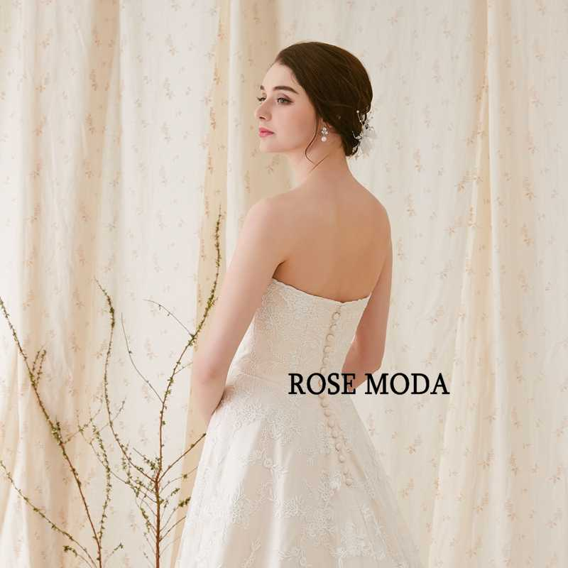 e15b19edaf3f7b ... Rose Moda Elegant Chantilly Lace Wedding Dress Strapless Ivory over  Champagne A Line Wedding Dresses 2019