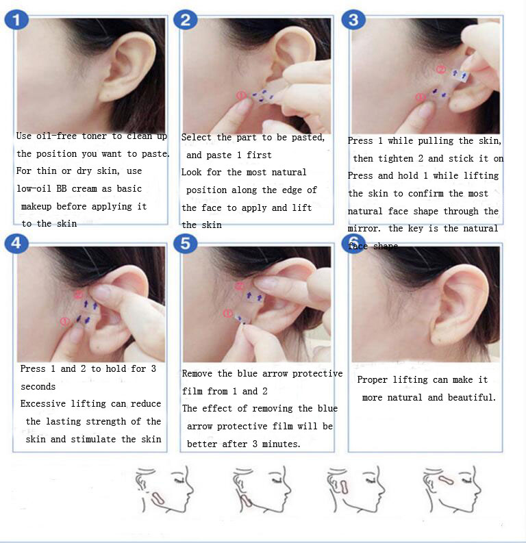 Image 5 - 40 Pcs/Set Invisible Thin Face Stickers Face Facial Line Wrinkle Sagging Skin V Shape Face Lift Up Fast Chin Adhesive Tape-in Face Skin Care Tools from Beauty & Health