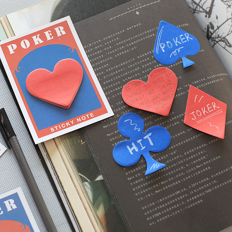 4 pcs/Lot Poker card sticky note 30 sheets paper planner Vintage stickers Post Office accessories School supplies F431