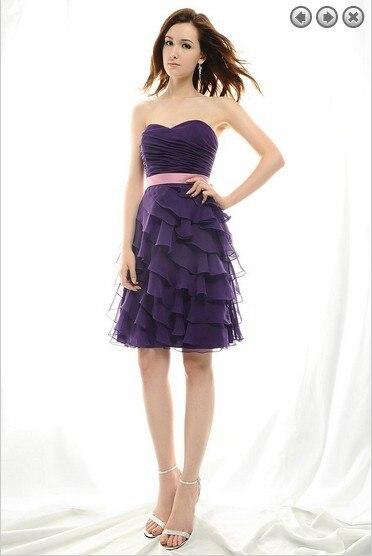 free shipping fashion 2016 elegant   dress   plus size brides maid vestidos formal gown purple short chiffon   Bridesmaid     Dresses