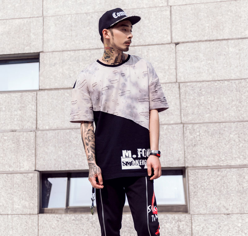 Tie Dye Ripped Patchwork T Shirts 2