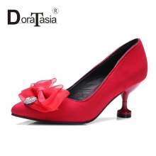 DoraTasia big size 32-43 sexy bowtie slip on woman shoes strange high heels Wedding Party women pumps spring flock uper