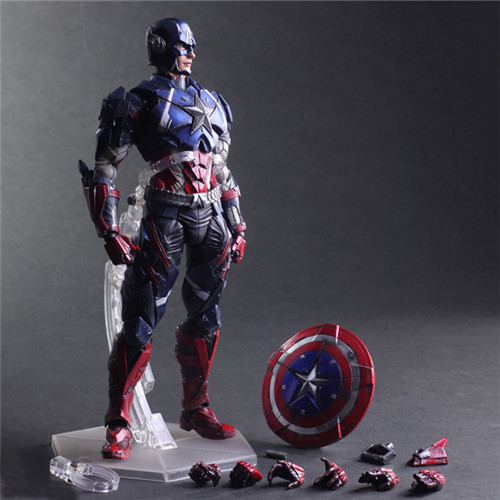 Free Shipping Cool 10 The Avengers Playarts KAI Captain America Boxed 26cm PVC Action Figure Collection Model Doll Toy Gift drop shipping captain america figure 3d