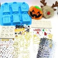Christmas Halloween Mix Set Box Resin Craft DIY Tombstone Silicone Molds Witch Open Bezel Skull Sticker Pumpkin Deer Pompom Ball